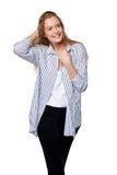Mulher de sorriso feliz que olha lateralmente imagens de stock royalty free