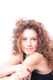 Mulher de sorriso isolada no branco Imagens de Stock Royalty Free