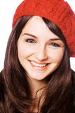 Mulher de sorriso no chapéu vermelho Imagens de Stock