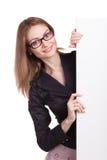 Mulher de sorriso nova com placa vazia Imagem de Stock Royalty Free