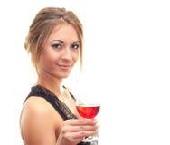 Mulher de sorriso que prende um vidro do vinho Imagens de Stock Royalty Free