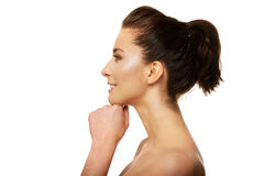 A mulher de sorriso toothy bonita com compõe Imagens de Stock Royalty Free