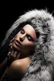 Mulher de tentação no revestimento com o colar da pele de raposa de prata Fotografia de Stock Royalty Free