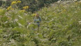 A mulher de viagem com turista backpack o passeio no prado do verão ao caminhar filme