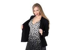 Mulher de Yong na polca retro clássica Dot Dress Imagens de Stock Royalty Free