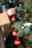 Mulher decorações de suspensão de um Natal no close up do abeto Fotografia de Stock Royalty Free