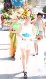 Mulher decorada floral na procissão Imagens de Stock Royalty Free