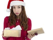 Mulher desapontado da caixa de presente do Natal fotografia de stock royalty free