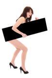Mulher despida espantada com quadro de avisos preto Fotos de Stock Royalty Free