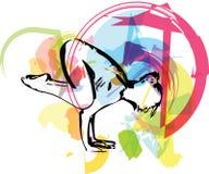 A mulher desportiva bonita do yogini do ajuste pratica a ioga ilustração do vetor