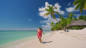Mulher despreocupada feliz que aprecia férias de verão nas ilhas das Caraíbas Praia tropical com palmeira video estoque