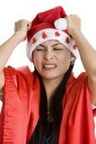 Mulher Disappointed com chapéu de Papai Noel imagens de stock