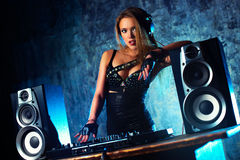 Mulher DJ Fotografia de Stock Royalty Free
