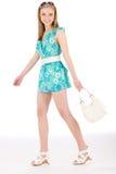 Mulher do adolescente feliz no vestido do verão Fotografia de Stock