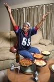 Mulher do African-American com os braços no ar. Imagem de Stock Royalty Free