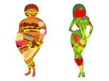 Mulher do ajuste que come o alimento verde saudável dos vegetais ou a menina gorda que comem o fast food ilustração royalty free