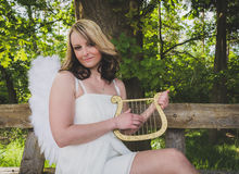Mulher do anjo com harpa Fotografia de Stock Royalty Free