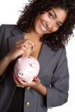 Mulher do banco Piggy imagem de stock royalty free