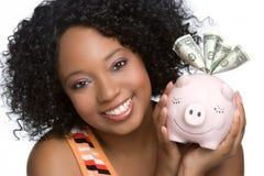 Mulher do banco Piggy fotografia de stock