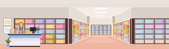 Mulher do bibliotecário na biblioteca interior da sala das estantes da biblioteca moderna da mesa de recepção com livros que lê a ilustração stock