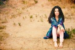 Mulher do cabelo Curly Imagem de Stock