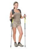 Mulher do caminhante isolada Fotografia de Stock