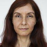 Mulher do cara-indiano do mundo em um fundo branco Fotos de Stock
