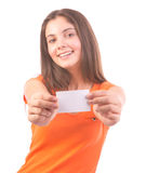 Mulher do cartão de presente fotografia de stock royalty free