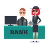 A mulher do cliente do mistério no revestimento do espião verifica o banco Imagens de Stock