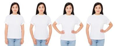 Mulher do coreano de quatro variações no t-shirt branco para o desenhista isolado, camisa chinesa da menina t imagens de stock royalty free