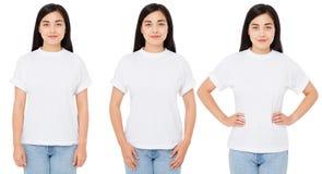 Mulher do coreano de três variações no t-shirt branco para o desenhista isolado, camisa chinesa da menina t fotos de stock