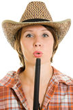Mulher do cowboy com um injetor. Foto de Stock