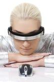 Mulher do Cyber com rato do computador Imagem de Stock Royalty Free