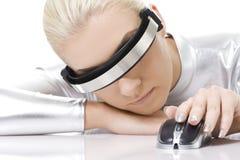 Mulher do Cyber com rato do computador Foto de Stock Royalty Free