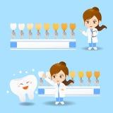 Mulher do dentista do doutor dos desenhos animados ilustração stock