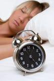 Mulher do despertador foto de stock royalty free