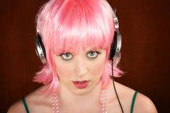 Mulher do disco com cabelo cor-de-rosa imagem de stock