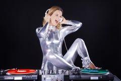 Mulher do DJ com jogador de registro Fotografia de Stock