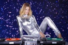 Mulher do DJ com jogador de registro Imagens de Stock Royalty Free