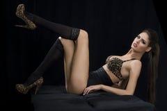 Mulher do encanto na roupa interior Imagens de Stock Royalty Free