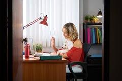 Mulher do escritório que guarda o cão durante a audioconferência de Skype fotos de stock