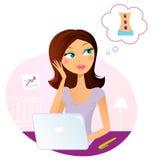 Mulher do escritório que sonha sobre a massagem ilustração do vetor