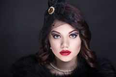Mulher do estilo do vintage Foto de Stock