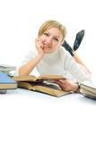Mulher do estudante com livro fotografia de stock