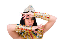 Mulher do faraó da dança que veste um traje egípcio. Foto de Stock