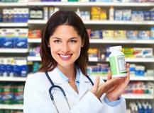 Mulher do farmacêutico. Foto de Stock