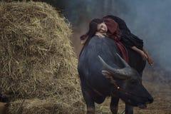 Mulher do fazendeiro que encontra-se em seu búfalo Fotografia de Stock Royalty Free