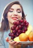 Mulher do fruto isolada Imagens de Stock