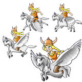 Mulher do guerreiro de Pegasus fotografia de stock royalty free
