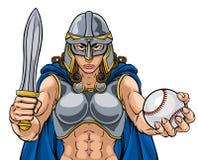 Mulher do guerreiro de Viking Trojan Celtic Knight Baseball ilustração stock